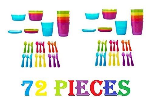 Ikea 72Pcs Kalas Kids Plastic BPA Free Flatware, Bowl, Plate, Tumbler Set,...