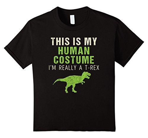 Best Black Guy Halloween Costumes (Kids Funny I'm Really A T Rex Dinosaur Halloween Shirt Costume 10 Black)