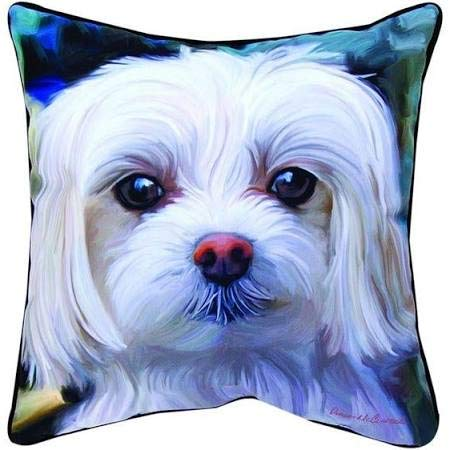 Manual Woodworkers & Weavers Paws and Whiskers Throw Pillow, Little Lord Malty Maltese, 18