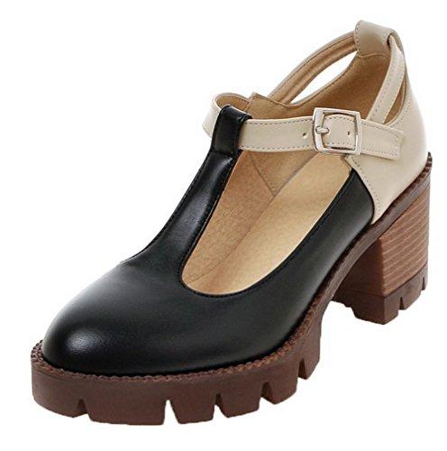 Allhqfashion Mujer-kitten-heels Assorted Color Buckle Pu-zapatos De Las Bombas De Punta Cerrada Negro