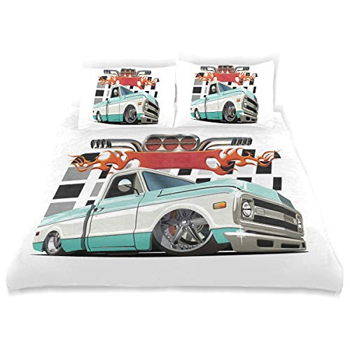 YCHY Decor Duvet Cover Set, Lowrider Pickup with Racing Flag Pattern Background Speeding On The Streets Modifie A Decorative 3 Pcs Bedding Set with Pillowcases, Twin/Twin - Tie Lowrider Side
