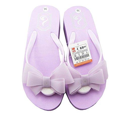 BININBOX Womens Sweet Bow Slippers Beach Shoes Sandals Leisure Flip Flops Purple kaau3