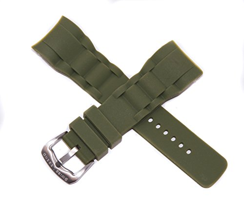 Swiss Legend 29MM Army Green Silicone Rubber Watch Strap Stainless Silver Buckle for 47mm Commander Watch