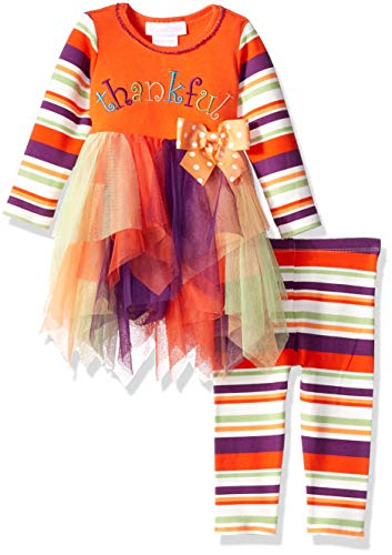 Bonnie Baby Baby Girls Appliqued Tutu Dress and Legging Set, Thankful, 6-9 -