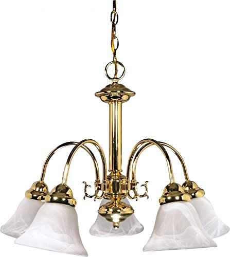 Nuvo Lighting 60/185 Five Light Chandelier, Polished Brass/Alabaster Glass
