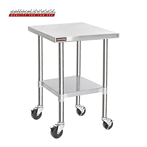 "DuraSteel Stainless Steel Work Table 30"" x 24"" x 34"" Height w/ 4 Caster Wheels -  Food Prep Commercial Grade Worktable - NSF Certified - Good For Restaurant, Business, Warehouse, Home, Kitchen, Garage from DuraSteel"