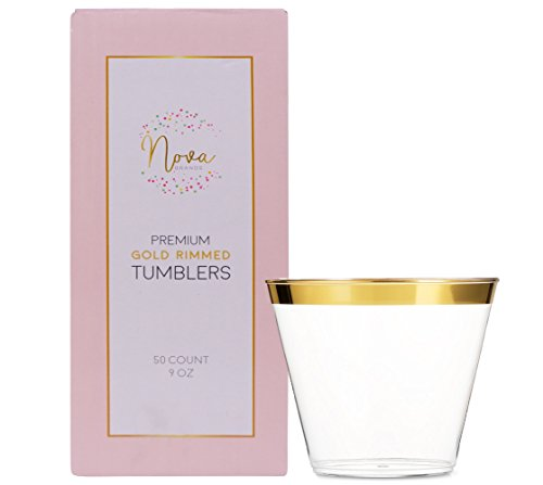 Nova Gold Rimmed Plastic Party Cups 9 oz 50 Count ~ Crystal Clear Disposable Tumbler Glasses Great for Wine, Champagne Or a Cocktail and Ideal for Any Wedding, Party Or Fancy Event by Nova Brands
