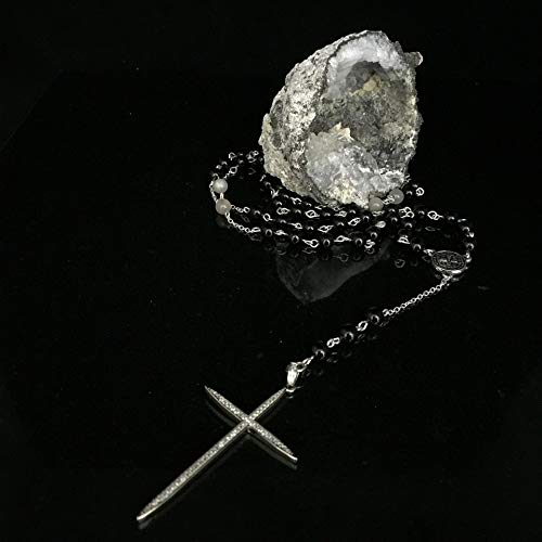 Rosary- Black Onyx, Moonstone & Micro Pave Cross Rosary-style Lariat Necklace