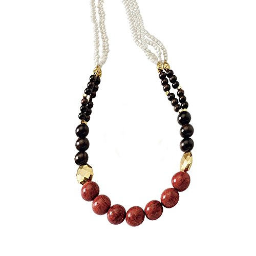 Regalia by Ulti Ramos Red Coral, Wood Beads, Porcelain and Gold Plated Metal Beads Necklace Assembled in The U.S.A. ()