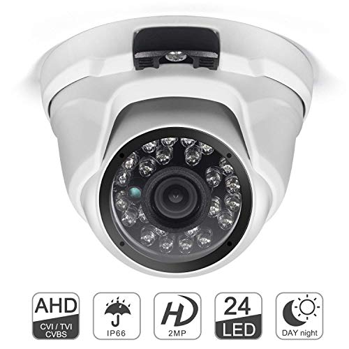 - Dome Security Camera, 1080P 4 in 1 (AHD/TVI/CVI/CVBS) Analog CCTV Camera 3.6mm Lens 100ft 24pcs IR-LEDs Night Vision IP67 Weatherproof Metal Housing for Outdoors and Indoors Monitoring (White)