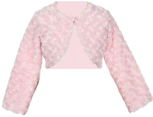 Faux Fur Long Sleeve Bolero Jacket Shrug - Pink Girl 10