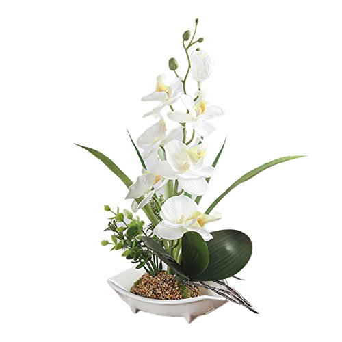 Lembeauty Simulation Phalaenopsis Orchid Bonsai with Pot Artificial Flowers Ornaments for Home Decor