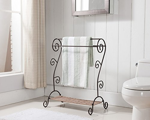 Kings Brand Antique Style Bronze Finish Quilt Towel Rack Stand