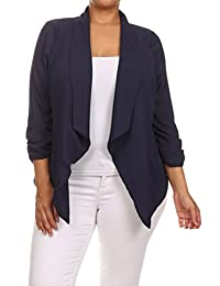Womens Plus Size Solid Relaxed Fit Open Front Blazer With Draped Neck MADE IN USA