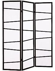 Roundhill Furniture 3-Panel Screen Room Divider, Black