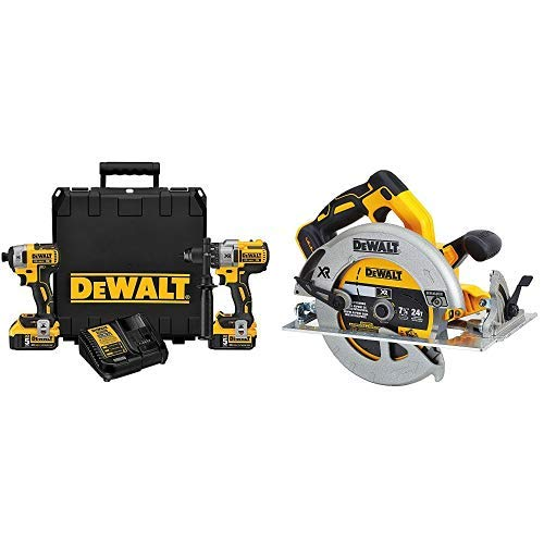 DEWALT DCK299P2 20V MAX XR 5.0Ah Premium Cordless Hammerdrill & Impact Driver Combo Kit with DCS570B  7-1/4 (184mm) 20V Cordless Circular Saw with Brake (Tool Only)