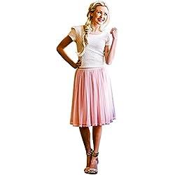 Mikarose Tulle Full Modest Skirt In Pink w/Dots