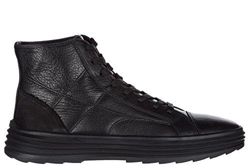 Scarpe Da Uomo Hogan Sneakers Alte In Pelle H341 Nere