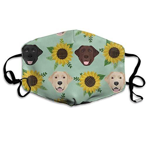 Medical Masks,Labrador Floral Sunflower Dog Dustproof Earloop Face Mask Great Dental Surgical Allergy Pollen Antiviral Mouth Travel