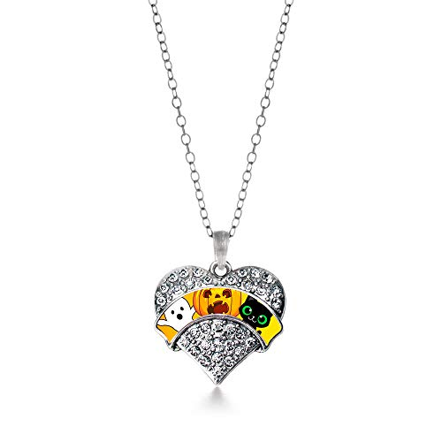 Inspired Silver - Cute Halloween Trio Charm Necklace for Women - Silver Pave Heart Charm 18 Inch Necklace with Cubic Zirconia Jewelry -