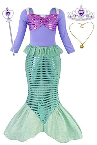 HenzWorld Girls Princess Ariel Dress up Little Mermaid Costumes 3/4 Sleeve Jewelry Accessories -