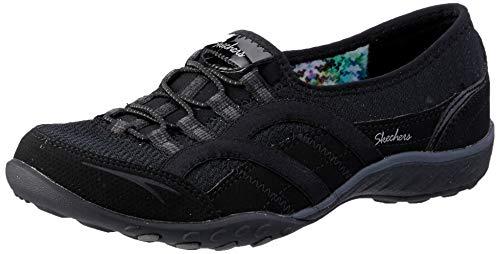Skechers Womens Relaxed Fit Breathe Easy Faithful Slip-On Sneaker,Black,US 9 M