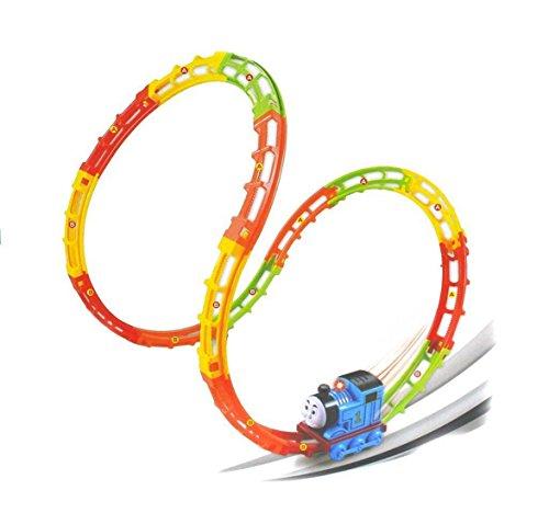 JBP XPREZA Tumble Train Track Set 17 Pcs Race Car with sound and light roller coaster rails train track set for kids christmas present (Thomas Roller)