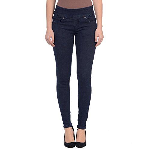 Lola Jeans Women's Anna Mid Rise Pull On 4-Way Stretch Denim Skinny Jean (Dark Blue, Size 27/2) (Seven Jeans Maternity)