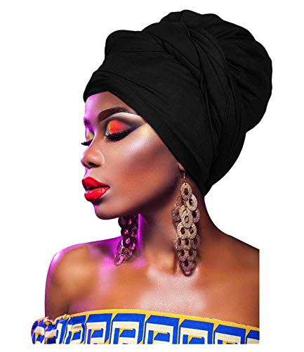 L'VOW Women' Soft Stretch Headband Long Head Wrap Scarf Turban Tie ()