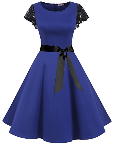 BeryLove Women's Vintage 50s Lace Sleeves Retro Rockabilly Swing Coaktail Party Dresses BLV8002RoyalBlueXS -