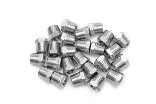 """LTWFITTING Bar Production Stainless Steel 316 Pipe Hex Bushing Reducer Fittings 3/8"""" Male x 1/8"""" Female NPT Fuel Water Boat (Pack of 25)"""