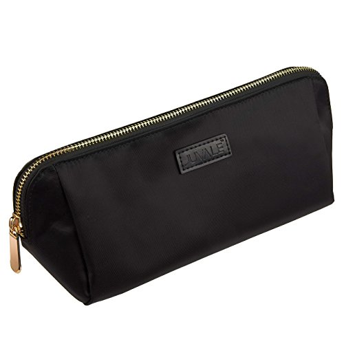 Cosmetic Makeup Bag - Portable Polyester Pouch, Nylon Travel Makeup Bag Clutch, Pencil Case for Traveling Organizer, Accessories Item Storage - Black, 11 x 4.5 x 3.5 Inches