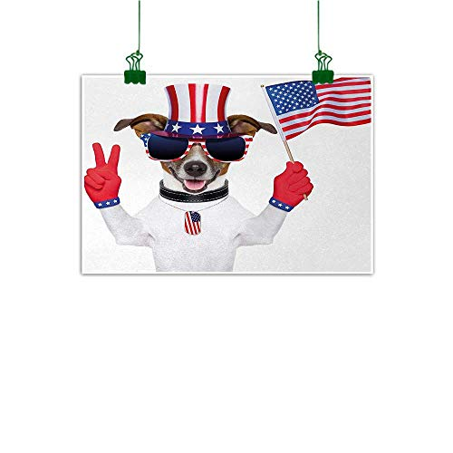(4th of July Mural Funny Pet Dog with an Uncle Sam Hat Holding a Peace Sign and an American Flag Abstract Art Multicolor W 36