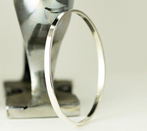 Sterling Bangle Bracelet - Heavy Silver Bracelet 4x2mm - Sizes Sm to XXL