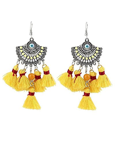Young & Forever Women's Boho Gypsy Yellow Bohemian Tassel Cubic Zircon Earrings by Young & Forever
