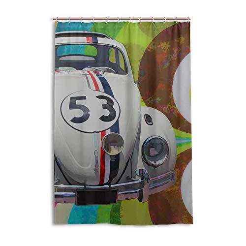 DNOVING Shower Curtain Volkswagen Beetle Art Car Shower Stall Polyester Bathroom Bath Curtain Valance 48x72 Inch