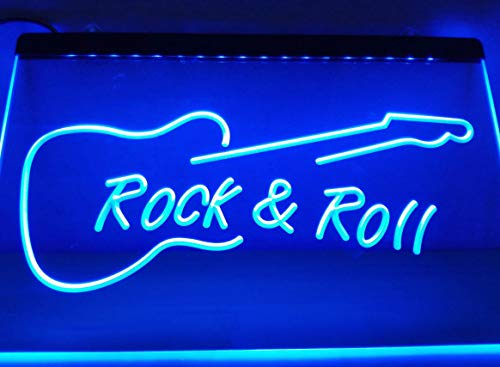 Rock and Roll Guitar Music Neon Sign for Your Store 11.8inch x 7.8inch - Blue Colour