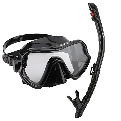 ZMZ DIVE Adult Snorkel Set, Tempered Glass Diving Mask and Dry Snorkel, Adjustable Anti-Leak Anti-Fog Design Panoramic Scuba Mask, with Food-Grade Silicone for Freediving Snorkeling (Black)]()