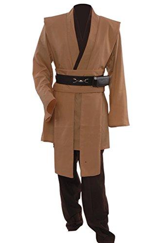 Allten Men's Costume Star Wars Kenobi Jedi Knight Tunic Brown XXXL (Jedi Tunic Costume)