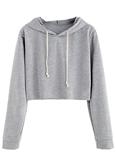 (MAKEMECHIC Women's Long Sleeve Pullover Sweatshirt Crop Top Hoodies Grey S)