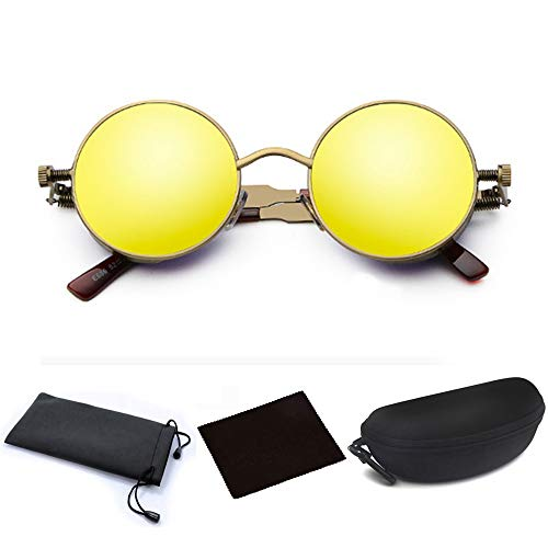 (JJLHIF Mens Womens Steampunk Round Sunglasses Vintage Retro Style Fashion Cyber Goggles Metal Frame Beach Sun Glasses Caircle Reflective Lens with Glasses Case for Men Women (Bronze)