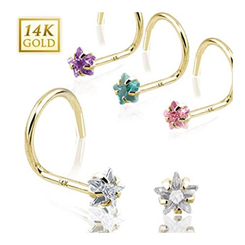 - West Coast Jewelry {Clear} 14 Karat Solid Yellow Gold Prong Star CZ Nose Screw Ring - 20 GA - Clear (Sold Ind.)