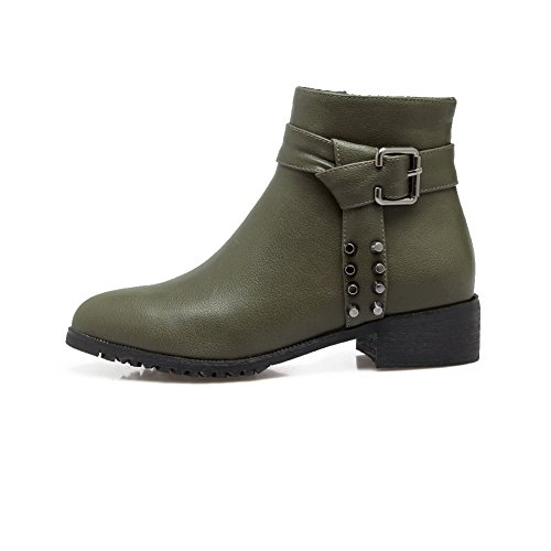 Urethane Womens Toe B 9 Low ABL09783 Pointed Army M Solid Zipper BalaMasa Studded Boots US Heel Green B6vXdBq