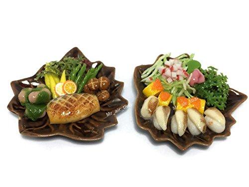 2 Miniature Sushi Set Food Dollhouse Drink Japan Food Shshi Bento Steak Vegetable Fruit Decor Furniture ( Sushi,Salmon Steak) F11 ()