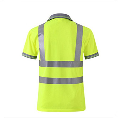 Hogear Reflective Short Sleeve T Shirt Tape Polo Safety High Visibility Apparel Running Jogging Work Wear by Hogear (Image #2)