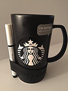 Amazon Com Starbucks Chalkboard Porcelain Mug Black With White Art Pen Kitchen Amp Dining