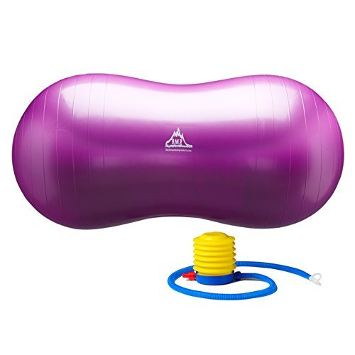 Black Mountain Products Peanut Stability Ball with 1000 lb Static Weight Capacity Pump, Purple