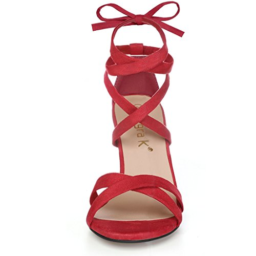 Red Allegra Block Toe Heeled 1 Women Open Lace High Up K Sandals Cqqvp