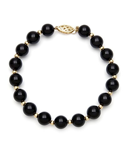 10k Yellow Gold Natural Black Beaded Onyx Gemstone Strand Bracelet, (Beaded Onyx)