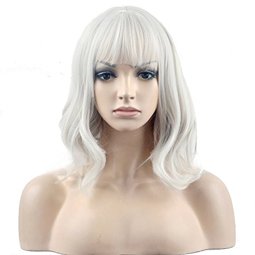Best Touch Of Nature Costume Wigs - BERON 14'' Short Curly Silver White